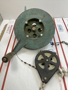 Vintage Bronze Fishing Boat Hand Gurdy Winch Pulley Stainless Marine Downrigger $129.99