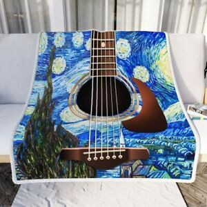 Starry Night Guitar Sofa Throw Blanket