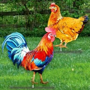Set of 2 Metal Colorful Chicken Rooster Rustic Farm Yard Garden Stakes 23H