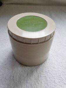 Vintage Thermos Insulated Jar Model #1155 King Seeley Beige Green Lid USA made