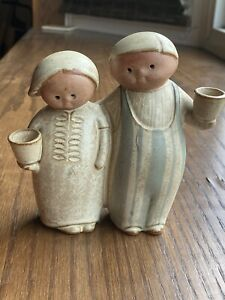 Japanese Vintage Stoneware Man And Woman Candle Holder Blue And Cream $30.00