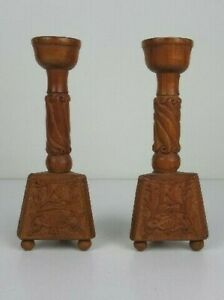 2 Vintage Holder Candle Wooden Carved Base Tripod Period Xx Century $57.74