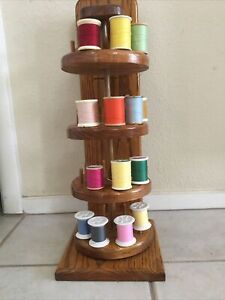Sewing Spool Thread Wooden Holder Stand Turnable Style $29.99