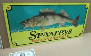 SPAMPY#x27;S Bait and Tackle BIG FISH Embossed Tin FISHING SIGN