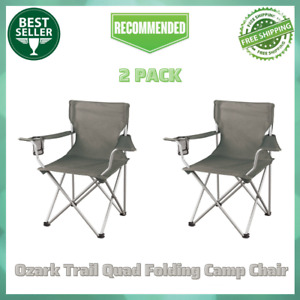 2 Pack Ozark Trail Classic Folding Camping Chairs with Mesh Cup Holder Gray