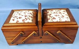 Vintage Expandable Sewing Box 13x6.5 Wood Fold Out Accordion Chest Basket $42.75
