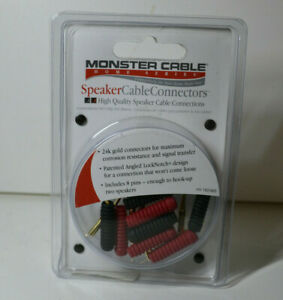 Monster Cable Speaker Cable Connectors 8 Angled Pin Lock Notch 24K Gold $24.95