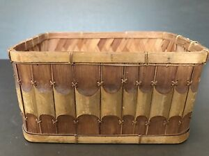 Vintage Small Sewing Wood Slat Basket No Lid Farmhouse Country Decor 7x5quot; $17.99