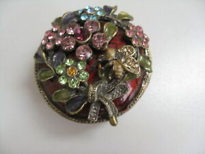 Vintage Enamel Colored Crystal BEE amp; FLOWER Trinket Small Box 1.5quot; Lot #a $9.99