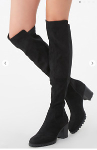 Lug Sole Over the Knee Boots Black Chunky Heel Faux Suede NWT 5.5 $16.95