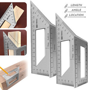 2Pack 3D Measuring Tool Gauge 45 90 Degree Square Mitre Angle Ruler Woodworking $17.99