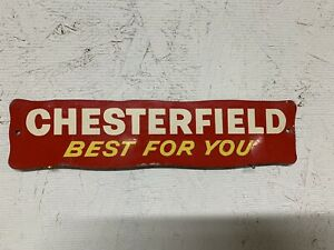 """Vintage Chesterfield Cigarette Door Push quot;Best for Youquot; Rack Sign 9"""" Smokes"""