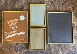 """LOT OF 4 Vintage Metal Gold Tone 2 5x7"""" 2 8x10"""" Picture Frame Wedding Decor"""