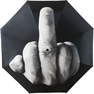 Tinsow Funny Folding Middle Finger Umbrella Creative Gift for Man Women Black M $14.99