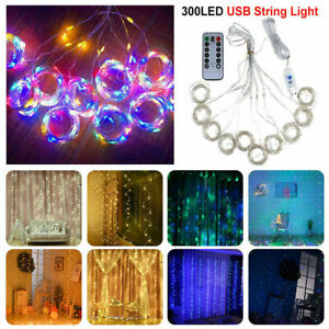 300LED 10ft Curtain Fairy Hanging String Lights LED Home Wedding Party 8 Modes $11.99