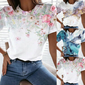 Womens Floral Printed Short Sleeve T shirt Summer Casual Blouse Ladies Tee Tops $11.09