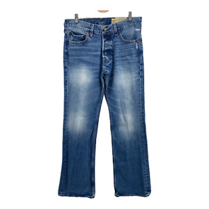 HOLLISTER BOOMER LOW Rise SLIM BOOT CUT Jeans Button Fly Size 32x32 distressed $23.36