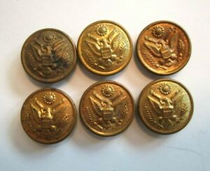 Military Sewing Buttons Round Brass Eagle Crest Set of 6 $15.00