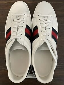 🔥 2 Gucci Ace White amp; Black Leather Sizes US 10D $1100.00