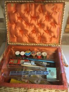 vintage sewing basket with contents— used $15.95