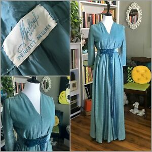 Glam Vintage Malouf PERFECT NEGLIGEE 50s Dressing Gown Lurex Sparkle Blue Green