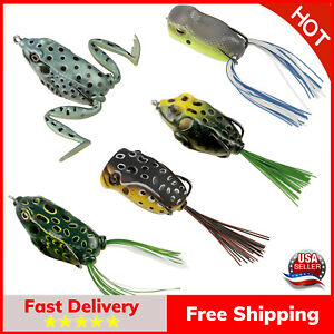 Topwater Frog Lures Soft Fishing Lure Kit with Tackle Box Pack of 5