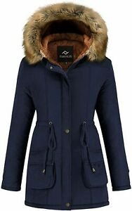 Farvalue Womens Winter Coat Hooded Warm Puffer Quilted Navy Size XX Large $28.00