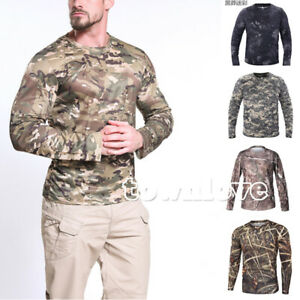 Mens Army Combat Tactical T Shirt Long Sleeve Camouflage Shirts Hiking Outdoor