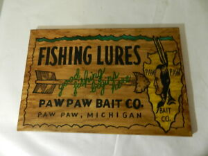 VINTAGE ADVERTISING SIGN PAW PAW BAIT CO. WOODEN SIGN VINTAGE FISHING SIGN