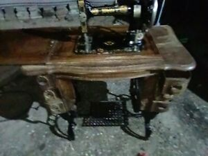 Antique White Rotary Treadle Sewing Machine from early 1900 W attachments Works $250.00