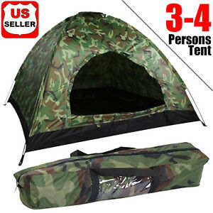Outdoor Camping 4 Person Tent Waterproof Folding Camouflage Family Travel Hiking