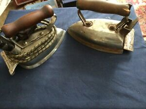 Vintage Antique Clothing Irons amp; Toaster Lot of 4 Wood Handles $59.99