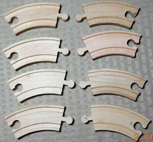 Vintage Lot of 8 Wood 4 1 4quot; Train Track Small Curved Wooden Railway FREE Ship $18.74