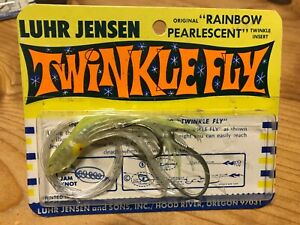 Vintage Luhr Jensen Twinkle Fly Yellow Salmon Trolling Downrigger Squid