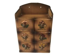 Vintage Made in Japan Wooden Sewing Box Wall Mount Buttons Needles Pins $25.00