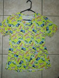 women scrub top animal print size small. Tapered back