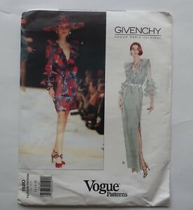 Vogue 1580 Givenchy Vintage sewing pattern dress with ruffle size 12 14 16 uncut $24.40