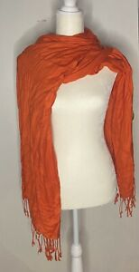 Women's Long Wrap Scarf Orange One Size New With Tags $6.30
