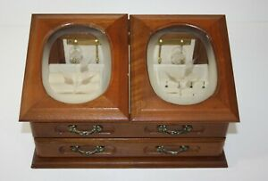 Vintage Wooden Jewelry Box The Commodore by Rosalco Etched Glass Doors $32.95