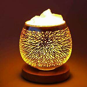 Salt Lamps Natural Crystal with Wooden Base.Rock Salt from Pakistan Night When