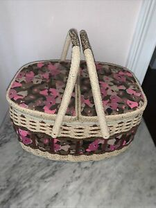 Vintage Sewing Basket 1960#x27;s Sears Best 14 X 10 X 7.5 inches Pink Mod $14.95