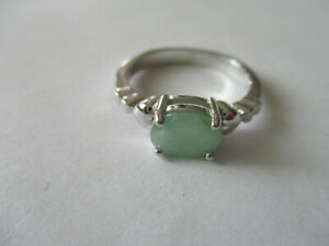 Single stone real Emerald sterling silver ring women real oval cut size 7 $23.35