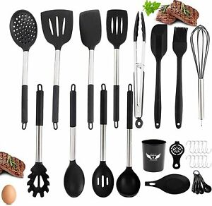 30PC Silicone Cooking Utensil Set 608°F Heat Resistant Kitchen Utensils Cookware