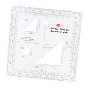 Military Triangle Scale Coordinate Protractor Topographic Map Reading Training $10.58