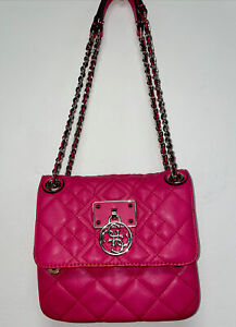 GUESS Bright Pink Quilted Crossbody Bag Purse Chain Strap $55.00