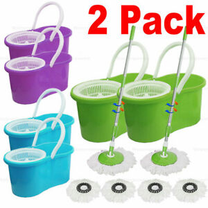 2x 360° Spin Adjustable Mop Bucket Floor Cleaning System Washable Mop Head $39.99