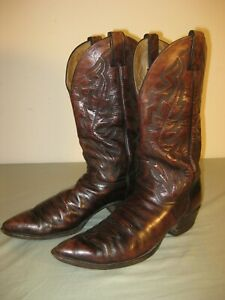 VINTAGE JUSTIN 1948 STYLE COWBOY BOOTS POINTED TOE BROWN MEN#x27;S 10 1 2 A