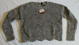 Love By Design Women#x27;s L S Scalloped Pullover With Silver Lurex DD5 Gray Medium