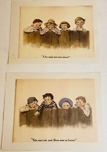 Two Antique Lithographs Dated 1911 Charles Twelvetrees Children Set Of 2 $44.97