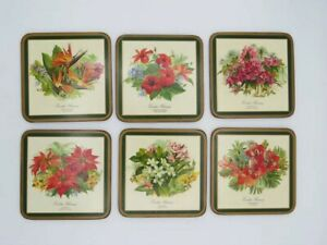 NOS Vintage Pimpernel DeLuxe Coasters Caribbean Flowers Set 6 Made in England $22.97